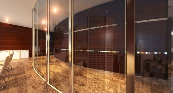 Faceted Glass Partitions